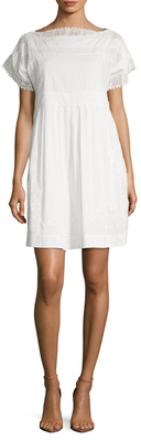 Max Mara Letizia Cotton Lace Trim Flared Dress