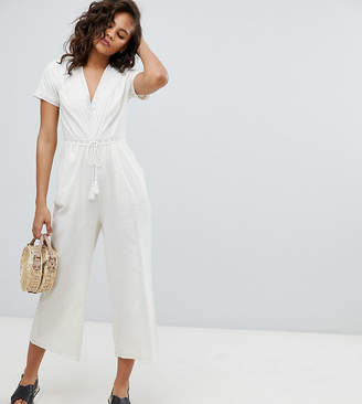 Asos Tall DESIGN Tall Cotton Embroidered Jumpsuit With Tassel