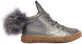 Ocra Leather Sneakers W/ Fur Pompoms