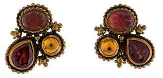 Stephen Dweck Citrine, Quartz & Garnet Clip-On Earrings
