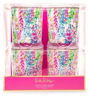 Lilly Pulitzer Catch Wave Lo-Ball Glasses/Set of 4