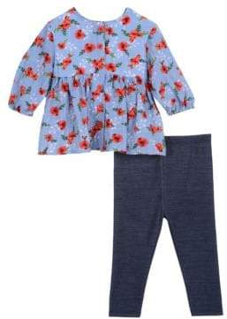 Baby Girl's Two-Piece Floral Top & Denim Leggings Set
