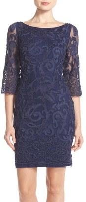 Aidan Mattox Beaded Mesh Sheath Dress $475 thestylecure.com