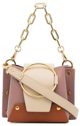 Yuzefi pink and nude Delila mini suede and leather cross-body bag