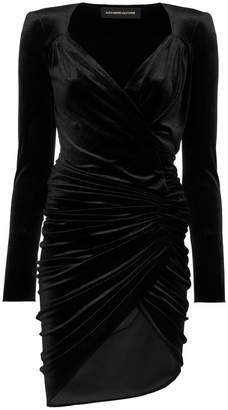 Alexandre Vauthier gathered velvet mini wrap dress
