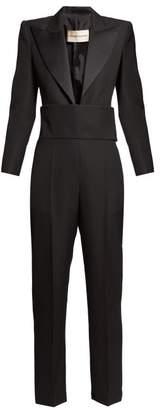 Alexandre Vauthier Satin Lapel Plunge Tuxedo Jumpsuit - Womens - Black