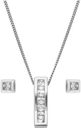 The Love Silver Collection Sterling Silver Cubic Zirconia Bar Pendant and Square Stud Earring Set