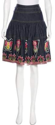 Christian Dior Embroidered Denim Skirt