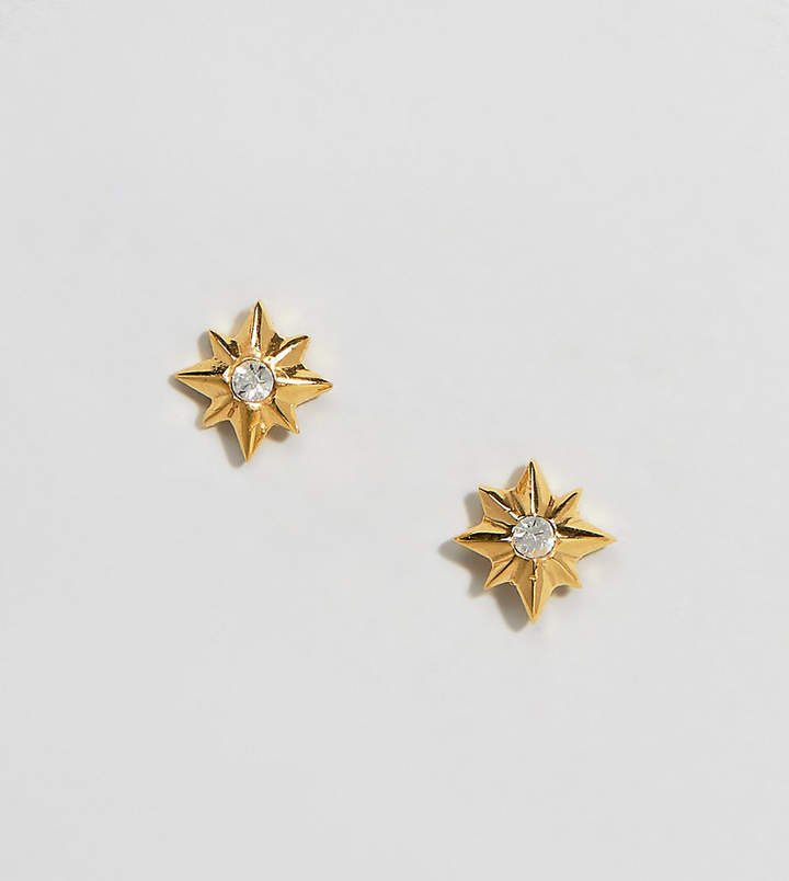 ASOS DESIGN Sterling silver with gold plate stud earrings in carved star design