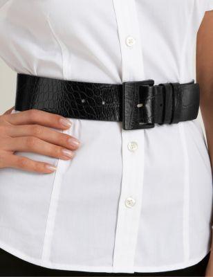 Wide Croco Belt