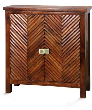 Generic Chevron Pattern Inlay Two-Door Cabinet - Red Mahogany