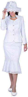 GIOVANNA COLLECTION Giovanna Collection Women's 2-piece Lace Eyelets Skirt Suit - Plus