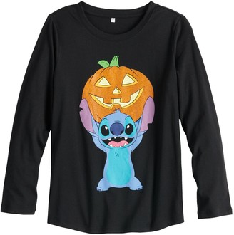 Disney Disney's Lilo & Stitch Girls 7-16 & Plus Size Stitch Holds Pumpkin Long Sleeve Graphic Tee