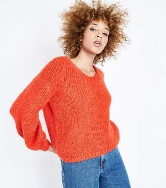 New Look Orange Fluffy V Neck Jumper