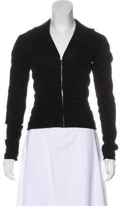 The Row Leather Long Sleeve Jacket