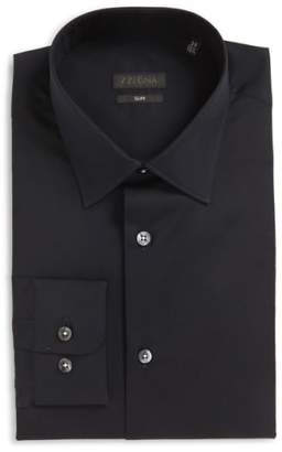 Z Zegna Slim Fit Solid Stretch Dress Shirt