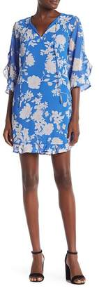 Vince Camuto Elbow Sleeve Floral Print Dress