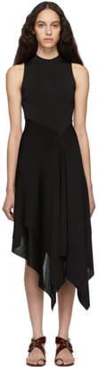 Victoria Beckham Black Cross Back Asymmetric Dress