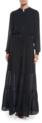 MICHAEL Michael Kors Long-Sleeve Tiered Chiffon Maxi Dress, New Navy $175 thestylecure.com