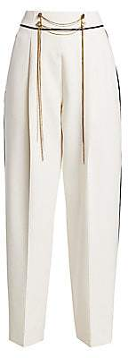 Oscar de la Renta Women's High-Waist Chain Wool-Blend Pants