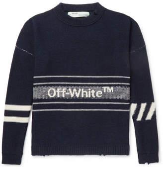 Off-White Oversized Distressed Logo-intarsia Wool Sweater
