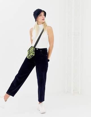 Asos Design DESIGN carpenter boyfriend jeans in midnight navy velvet