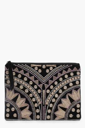 boohoo Ivy Embroidered Ziptop Clutch Bag