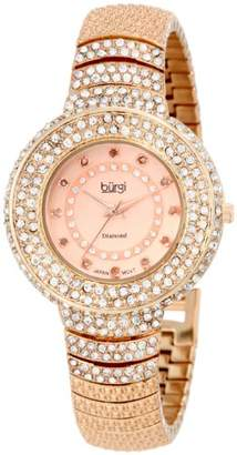 Burgi Women's Glamour Diamond Watch with Rose-Tone Dial and Bracelet BUR048RG