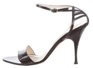 Brian Atwood Patent Leather Ankle-Strap Sandals