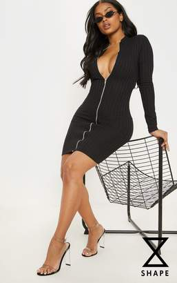 PrettyLittleThing Shape Black Ribbed Zip Front Bodycon Dress