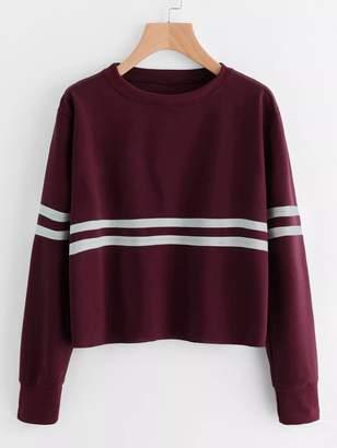 Shein Plus Contrast Striped Sweatshirt