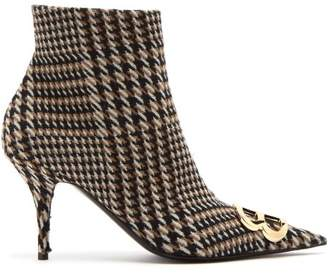 Balenciaga Houndstooth Knife Ankle Boots - Womens - Brown Multi