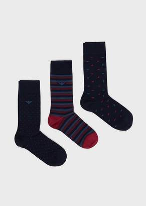 Emporio Armani Pack Of 3 Pairs Of Multi-Patterned Socks