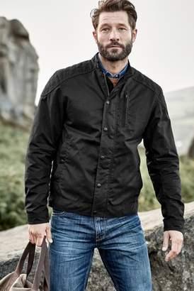 Next Mens Black Signature British Millerain Wax Biker Jacket