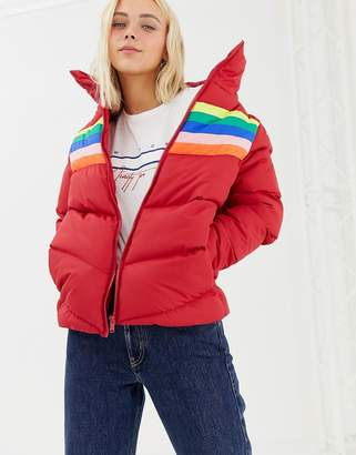 Brave Soul antonia padded jacket with rainbow stripe insert