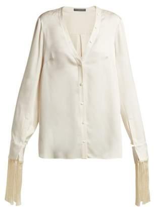 Alexander McQueen Fringed Silk Satin Blouse - Womens - Ivory