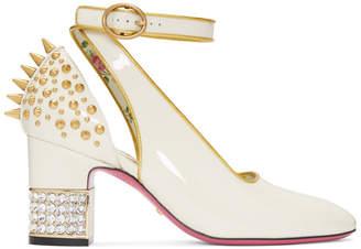 Gucci White Patent Casper Mary Jane Heels