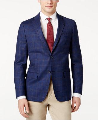 Dkny Men's Slim-Fit Dark Blue Check Jacket $350 thestylecure.com
