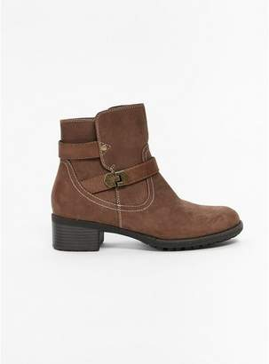 Evans Extra Wide Fit Taupe Double Buckle Ankle Boots