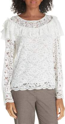 Rebecca Taylor Cotton Blend Lace Ruffle Blouse