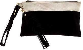 Fringe Leather Black Leather Wristlet