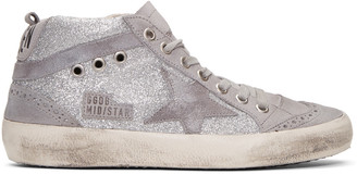 Golden Goose Grey Glitter Mid Star Sneakers $495 thestylecure.com