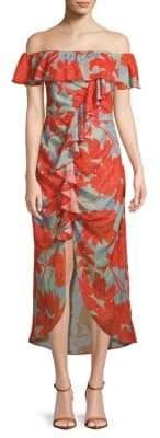 Red Carter Serafina Off-The-Shoulder Midi Dress
