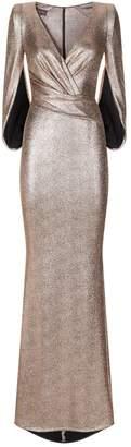 Talbot Runhof Twisted Waist Cape Gown