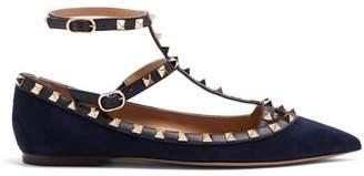 Valentino Rockstud Suede Flats - Womens - Navy