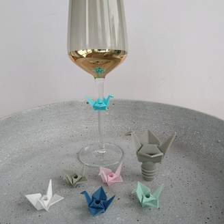 Posh Totty Designs Interiors Origami Wine Stopper And Charms Set