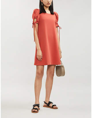 See by Chloe Drawstring-sleeve crepe mini dress