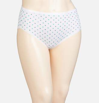 Avenue White Turquoise Dot Cotton Modern Brief Panty