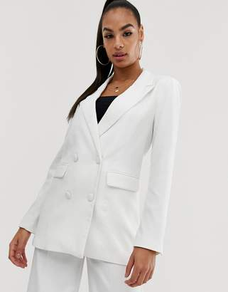 NA-KD Na Kd co-ord longline double breasted blazer in white