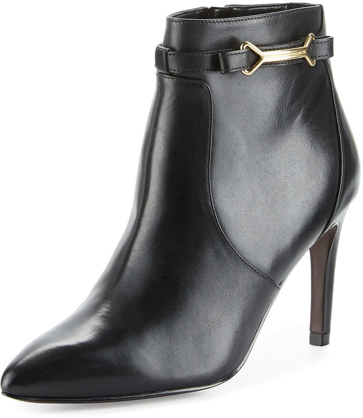 Cole Haan  Cole Haan Loveth Side-Buckle Leather Bootie, Black